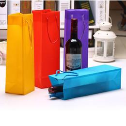 bolsas de regalo de plástico de colores Rebajas Colorido plástico bolsas de embalaje de vino individual doble botella de vino tinto regalo de Navidad bolsa de champán QW8820