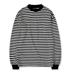 Tees blancs de haute qualité en Ligne-Nouveau T-shirt Homme Hip hop Mode ROND à manches longues T-SHIRT blanc rayé Homme Top Tee Taille drop Shipping haute qualité 2018