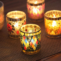 Wholesale dinner cups - Small Glass Cup Candle Holders Mosaic Crack Candlestick Home Decor Dinner Wedding Party Gifts Bar Decoration No Candle Free DHL WX9-320