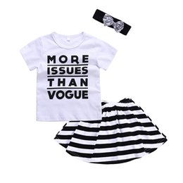 Wholesale Striped Headbands - Girls Three-piece Clothing SetsT-shirt Skirt Headband Letters Short Sleeve Shirt Striped Skirt Short Dress Bow Hairband 2-6T