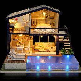 Muebles para casas de muñecas online-Nueva Chica DIY 3D De Madera Mini Casa de Muñecas 2018 Tiempo Apartamento Casa de Muñecas Muebles Juguetes Educativos Muebles Para niños Amor Regalo