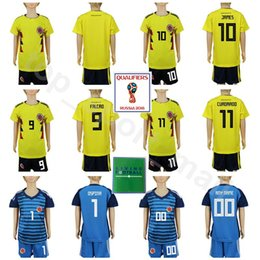 bb9d65c7ef6 Youth Colombia Soccer Jersey 2018 World Cup Set Kids 10 JAMES 9 FALCAO 11  CUADRADO 7 BACCCA 1 OSPINA Football Shirt Kits Children Goalkeeper
