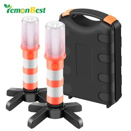 Wholesale Traffic Strobe Lights - 2PCS LED Portable lamp Road Security Flashing Flash Flare Strobe Light With 2 stand For Traffic Warnings Roadblocks Camping Hike