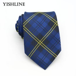 Discount shirt suit tie for men - XT105 Mens Accessories 8cm Blue Yellow Plaid 100% Silk Ties Men Brand Neckwear Business Wedding Grooms Necktie for Suit Shirt