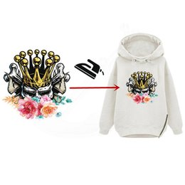 Wholesale Decorative Iron Patches - Europe style The skeleton queen in the flowers stickers Diy iron on patches girls T-shirt hoodie and denim jacket decorative