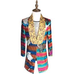 Wholesale Dj Clothing - Colorful Sequin Blazer Men 2018 New Long Blazer Suit Jacket Gold Green Pink Prom Blazers For Men Stage DJ Singer Clothing 5xl