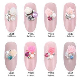 Wholesale Pearl Nail Stickers - 50pcs Flower square rhinestones pearl nail art design charms 3d nails decorations stickers accesories supply Y644~651