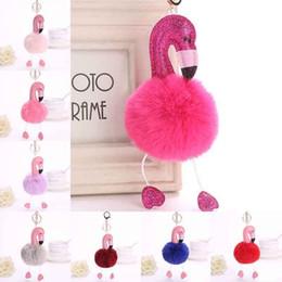 Rosa kaninchen pelz tasche online-Cute Pink Fluffy Pompom Flamingo Schlüsselanhänger Frauen Faux Kaninchenfell Ball Pompon Schlüsselanhänger Auto Tasche Pom Pom Key Rey Ring Halter