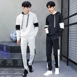 Wholesale Korean Hooded Jacket - New Arrival Men's POLO Pullover Tracksuits Plus Size M-XXXL Korean Version Sport Suits Jackets Casual Slim Hooded Two-piece Suits Fit Pants