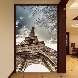 2019 construir torre eiffel Custom Blue Sky Eiffel Tower Foto Wallpaper Hotel Living Room Entrada Edificio 3D Mural Non-Woven Papel pintado a prueba de humedad 3D construir torre eiffel baratos