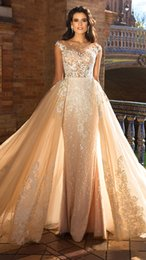 Wholesale Lace Over Satin Wedding Dress - Champagne Over skirts Wedding Dress With Detachable Skirt See Through Cap Sleeve Mermaid Wedding Dresses Sweep Train Bridal Gowns
