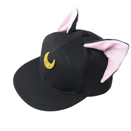 Wholesale Cat Snapback - 2017 Lovely Sailor Moon Cat Cap Snapback Ears Gorras Planas Hip Hop Hat Devil Horns Sunshade Casquette Baseball Cap
