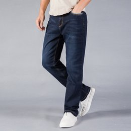 f05b15cd57b02 2019 jeans baggy jeans stretch pour hommes Straight Loose Blue Denim Pants  Pantalon grande taille Pantalon homme d'affaires taille 40 42 44
