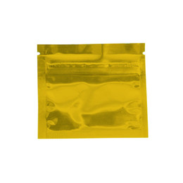 Lámina de calor dorado online-7.5 * 6 cm Reutilizable de oro Mylar Foil Zip Lock Bolsa de embalaje Sellado al calor Papel de aluminio Ziplock Food Candy Tea Bolsas de embalaje de muestra