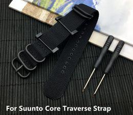 Relogios táticos on-line-Pulseira de relógio Preto 24mm Zulu Strap Tactical Engrosse Nylon Men Watch Band + Adaptadores + Lugs Para Suunto Core Traverse Strap Livre ferramentas
