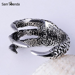 Wholesale Dragon Claw Ring Jewelry - Wholesale- 2017 New Arrival Men Dragon Claw Titanium Steel Fashion Ring Mens Stainless Steel Vintage Rings Anillos Fine Jewelry NP152