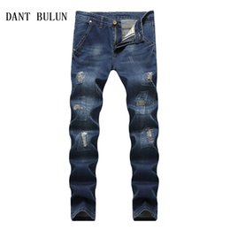 männer s eng anliegende hose Rabatt DANT BULUN Herren Jeans Lässige Stretch Zerrissene Punk Pants Hohe Qualität Baumwolle Slim Fit Enge Männlichen Elastische Blaue Hose, TY001