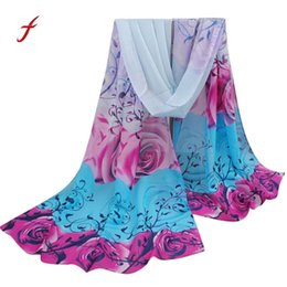 stole patterns Coupons - FEITONG Female scarf Women Beautiful Rose Pattern Chiffon Stole Shawl Wrap Wraps Scarf New Spring Ele11 Colors Scarves