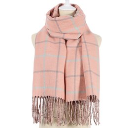 1b1d4d4c5 Fashion Pink Navy Winter Female Wool Scarf Women Cashmere Scarves Lattices  Long Blanket Warm Tippet Shawl Wrap cheap navy scarves