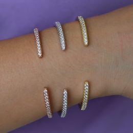 Zierliches silbernes armband online-Chic zierliche Armbänder Armreifen für Frauen Rose Gold / Silber Farbe Manschette Armreif Mädchen Kristall Schmuck Valentine 's pulseira feminina
