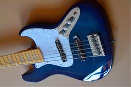 2019 jazz leggero blu Trasporto libero 2018 strumenti musicali su ordinazione della porcellana di alta qualità jazz 5 corde basso elettrico blu-chiaro con la perla bianca Pickguard guitarra sconti jazz leggero blu