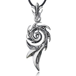 flame necklaces Promo Codes - 2017 Men's Punk Dragon Flame Titanium Stainless Steel Cool leather chain Pendant Necklace X576