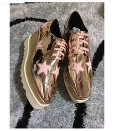 Wholesale lime green wedge - 2018 Hot Sale! Stella Mccartney Women Star Platform Shoes Top Quality Calfskin Genuine Leather 7cm Wedge Oxfords Elyse Sneakers35-41