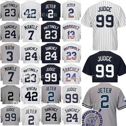 Wholesale Green Mantle - 99 Aaron Judge 2 24 23 Don Mattingly Baseball Jersey 3 Babe Ruth 7 Mickey Mantle 42 Mariano Rivera 51 Bernie Williams Jerseys