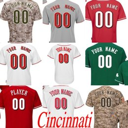 Wholesale Women Camo Shorts - Men's women youth Cincinnati Customized any name number Flexbase Road Cool Base camo white grey RED Baseball Jersey stitched s-4xl