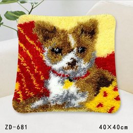 Wholesale Unfinished Embroidery - Diy Handkerchief Knitted Carpet Unfinished Pillow Embroidery Carpet Latch Hook Hold Pillow Animals 40 * 40CM Home Sofa Throw