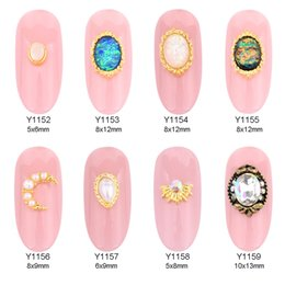 Wholesale foil japanese - 50pcs glitter foils oval nail stones 3d pearl gems metal nail jewelry moon japanese nail designs stickers accessories wholesale Y1152~1159
