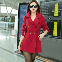Wholesale camel wool coat women - New 2015 Women Winter Wool Coat Women's Double Breasted Coats Ladies Long Blue Red Camel Woollen Jacket Female Plaid Overcoats
