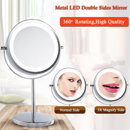 Wholesale Magnified Mirrors - Nice Metal Frame Round 360 Degree Rotating LED Makeup Mirrors Desk Table Makeup Mirror Double Sides Magnify Mirror 6inch&7inch