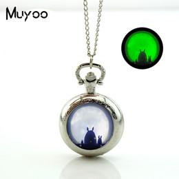 PA-0011 новый Мой сосед Тоторо карманные часы ожерелье японский аниме Сацуки и Мэй светящиеся в темноте ювелирные изделия подарки от Поставщики чудо супергероя подарки