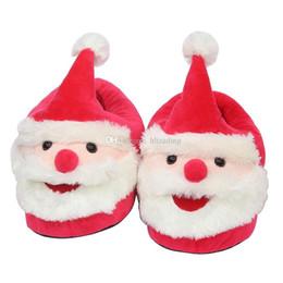 e531ea0e344ee Père Noël en peluche pantoufles dessin animé talon complet doux et chaud  ménage hiver bascule pour grands enfants adultes chaussures de Noël 28 cm  C5336 ...