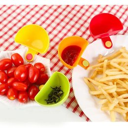 Wholesale Dips Bowl - 4pcs  Lot Assorted Salad Saucer Ketchup Jam Dip Clip Cup Bowl Saucer Cup Tableware Home Kitchen Accessories Kitchen Tool