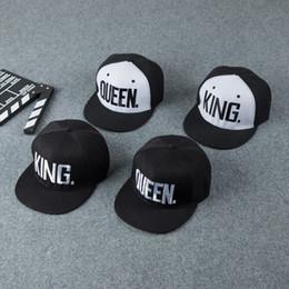 Wholesale Couple W - Fashion KING QUEEN Hip Hop Baseball Couple Caps Embroider Letter Adjustable Snapback Sun Hats For Men Women Climbing 6 5hb W