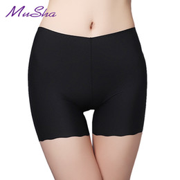 Wholesale Plus Size Ruffles Underwear - Hot Sale New Mid-RiseSexy Panties For Women Underwear Seamless Panties Boyshort Ice Silk Material Safety Plus Size