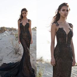 Pnina Tornai 2018 Siyah Gelinlik Modelleri Dantel Aplike Boncuklu Sheer Askı Mermaid Abiye giyim Custom Made Sweep Tren Balo Elbise nereden