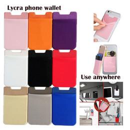 Blackberry stickers online-Lycra Handy Geldbörsen Kredit ID Kartenhalter Pocket Adhesive Sticker für iPhone x 8 6 6s 7 Plus Samsung