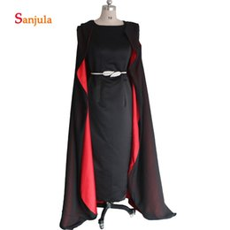 Мать невесты одета атласа шифон онлайн-Две фигуры Платья для матери невесты Черный атлас с шифоновыми обертками Элегантное вечернее платье для женщин с разрезом D13