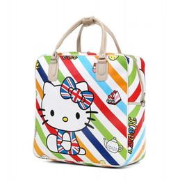 c7a1c884a3 Kawaii Cartoon Foldable Girls Tote Duffle Bags Hand PU Leather Traveling Bag  Hello Kitty Women Luggage Cute Duffel Handbag