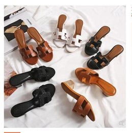Wholesale worn flip flops - 2018 new H slippers fashion wear leather high-heeled flip-flops thick heel sandals female summer outdoor with sandals