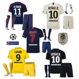 Jersey 17 kit online-PSG Maglie di calcio Tailandia Maillot de MBAPPE NEYMAR JR 2018 CAVANI DANI ALVES paris saint germain 17 18 maglia da calcio KIT NEYMAR camisetas