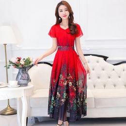 Wholesale beauty night fashion - Super Beauty Holiday Beach Woman Long Dress 2018 New Summer Fashion Temperament Thin Printing Short Sleeve Chiffon Lady Dresses