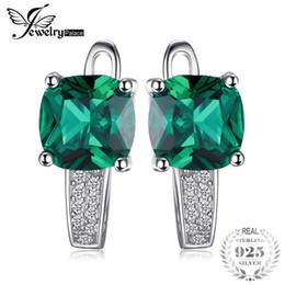 Canada JewelryPalace Cushion 3.1ct Créé Clip vert émeraude sur boucles d'oreilles en argent Sterling 925 Fine Jewelry for Women Accessoires supplier emerald green accessories Offre