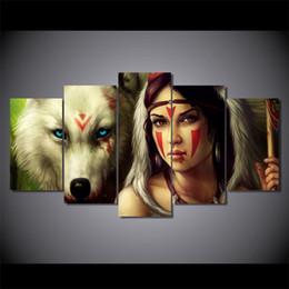 lona de pintura abstrata da cara Desconto 5 Pçs / set Emoldurado HD Impresso cor do lobo rosto mulher Arte Da Parede Da Lona Impressão Cartaz Canvas Pictures Pintura A Óleo Abstrata