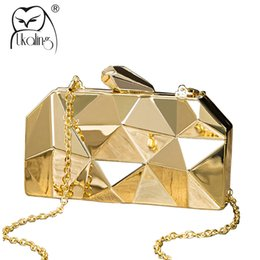 Wholesale Long Chain Handbags - UKQLING Brand Metallic Evening Bags Lady Clutch Purse Party Bag Minaudiere Handbag with Long Chain Women Bag Phone Gold Silver