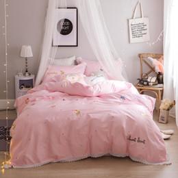 Wholesale Egyptian Cotton Queen Sheet Sets - 4 7 Pcs Queen King size Pink Blue Princess Bedding Set Egyptian Cotton Soft Bed sheet Embroidery Duvet Cover set Pillowcase Gift