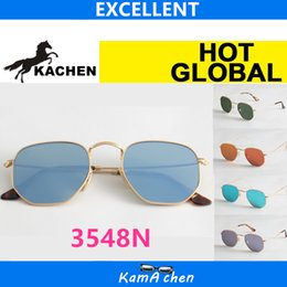 Wholesale Grass Protection - KaChen FLAT style 51mm Grass Green Blue Purple Red glass lens UV400 3548N protection AAA 1:1 quality sunglasses glasses men women